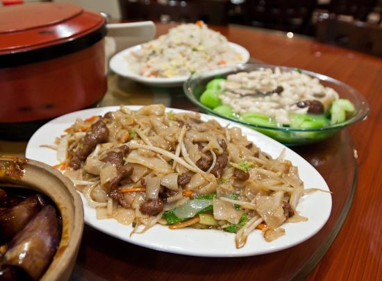 Asia Cafe - Beef Chow Fun, Bok Choy with White and Black Mushrooms, Yang Chow Fried Rice