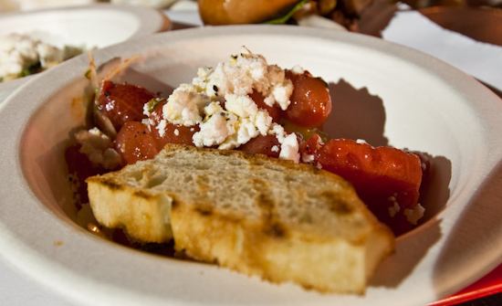 The Odd Duck Farm to Trailer - Marinated Tomato and Melon with Basil, Chipotle and Goat Feta