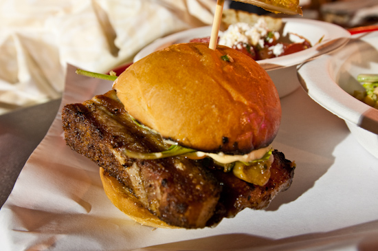 The Odd Duck Farm to Trailer - Pork Belly Slider, Pickled Peppers, Grilled Eggplant