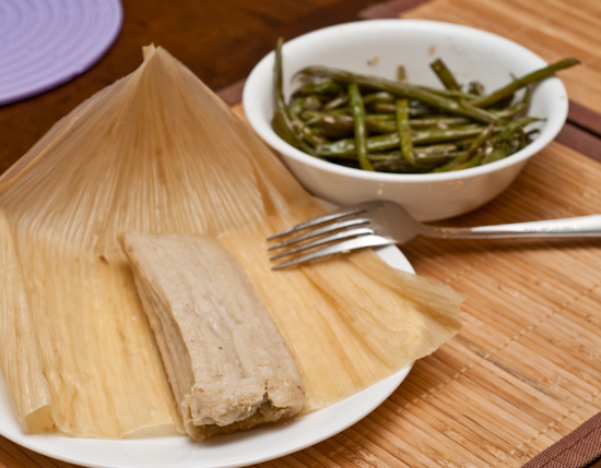 HEB Tamales and Leftover Bess Bistro haricots verts