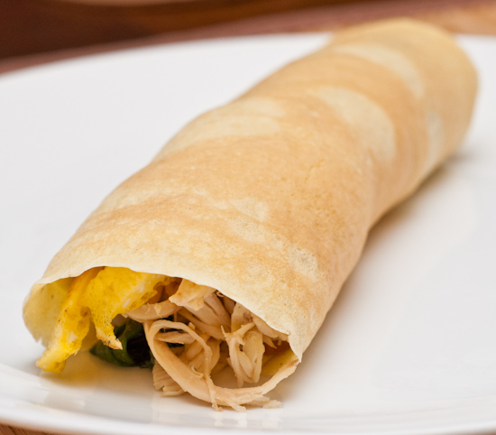 Crepe with shredded chicken, spinach, and egg strips
