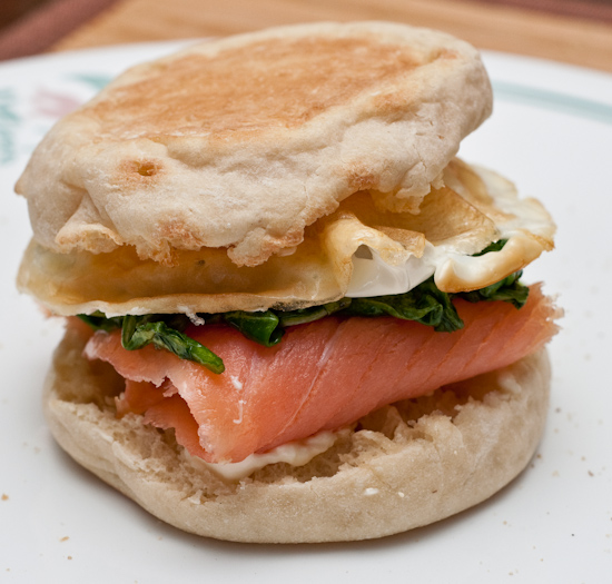 Smoked Salmon, Sauteed Arugula, and Fried Egg Sandwich