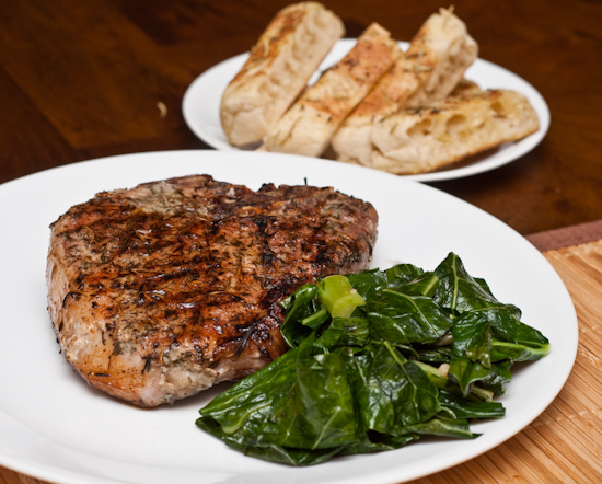 Sous Vide Pork Chop, Collard Greens, and Toasted English Muffin