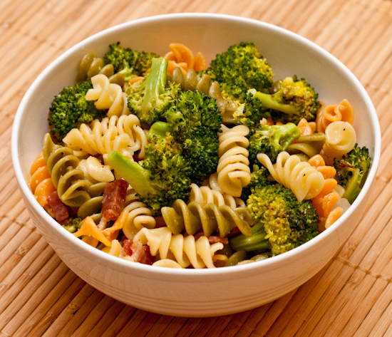 Rotini pasta with roasted broccoli and prosciutto