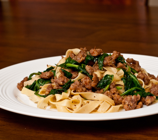 Homemade fresh linguine with Johnsonville Italian sausage and spinach