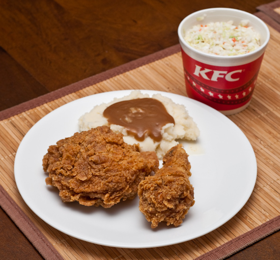 KFC Chicken, Mashed Potatoes, and Cole Slaw