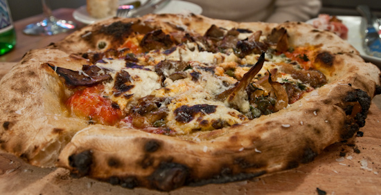 Backspace - roasted mushrooms, ricotta, tomato, capers, thyme pizza