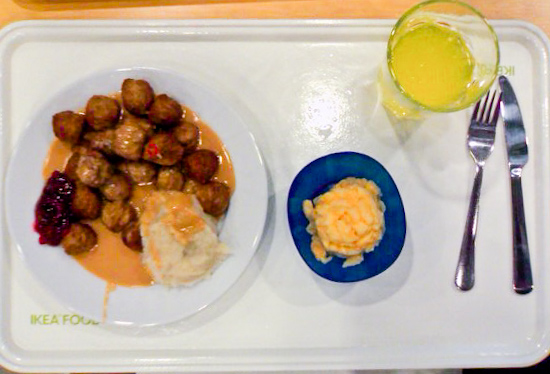 IKEA - Swedish meatballs with mashed potatoes and side of macaroni and cheese