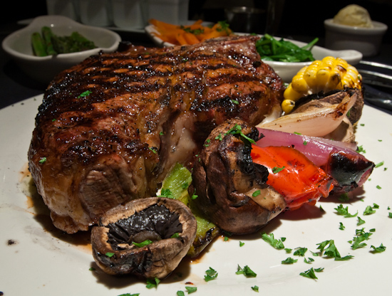 Austin Land & Cattle Company - Grilled Kabob Vegetables with Porterhouse Steak