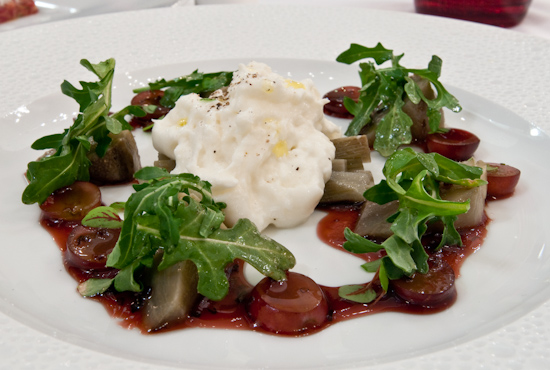 Congress - Wild Arugula - Artichoke Confit - Burrata - Red Grape Agro Dulce