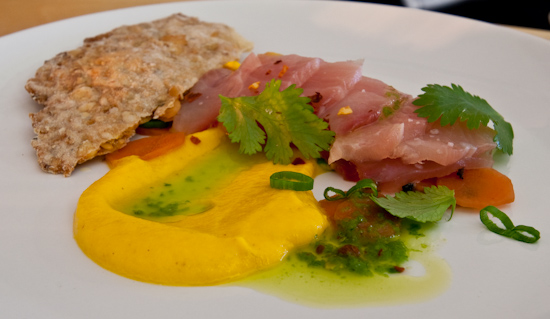 The Noble Pig - Yellowtail Hamachi with carrots, carrot puree and green chili oil