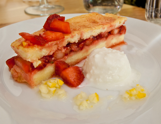 The Noble Pig - Poteet Strawberry Cake with Ricotta Gelato, Aged Balsamic and Sugar Cured Lemons