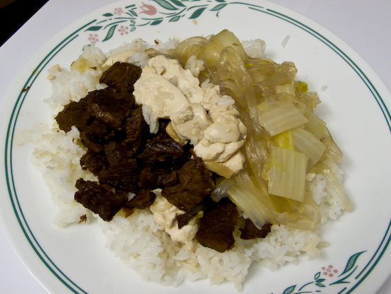 Stewed Pork, Tofu, and Napa Cabbage with Mung Bean Noodles over Rice
