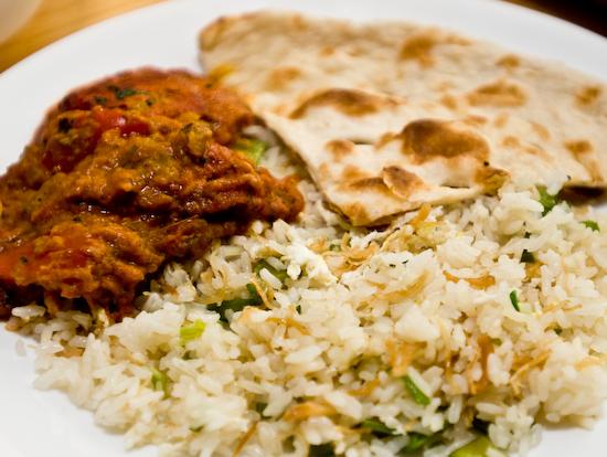 Rice, naan, lamb