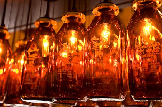 Milk Bottle Lamps