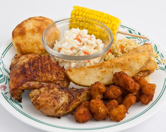 KFC - Grilled Chicken, Cole Slaw, Rice, Corn, Potato Wedges and Long John Silver's Buttered Lobster Bites