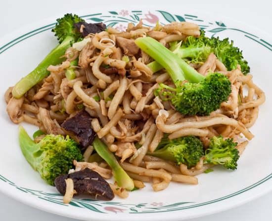 Stir-fried udon with broccoli, shiitake, and chicken