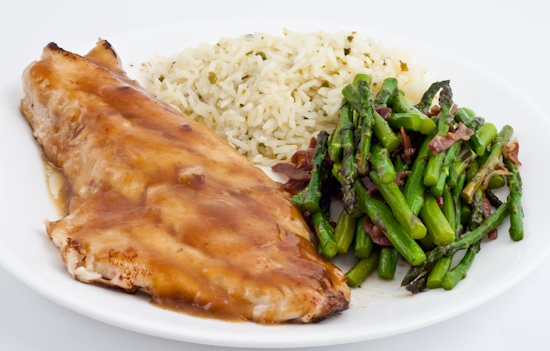 Fish, Asparagus, Buttered Rice