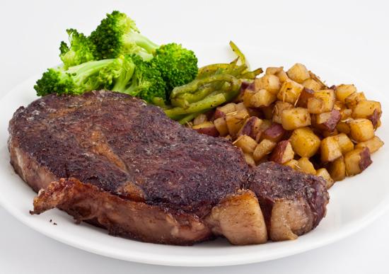 ribeye steak, hatch chiles, broccoli, potato and sunchoke hash