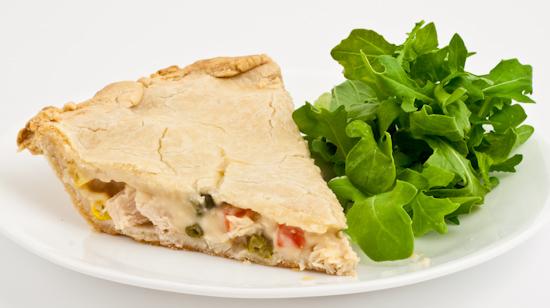 Chicken Pot Pie with arugula