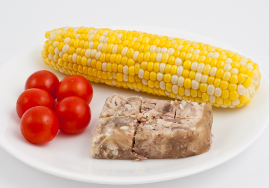 sweet corn, cherry tomatoes, and Dai Due headcheese