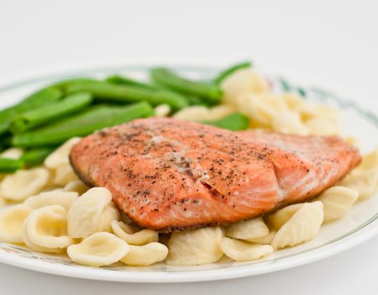 Salmon, sugar snap peas, orechiette