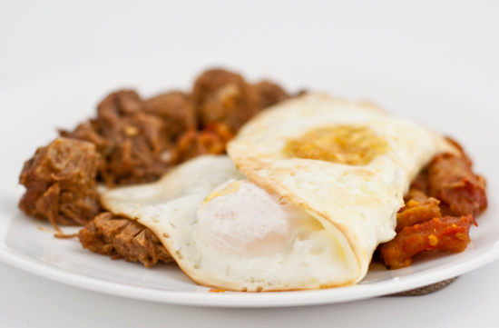 Carne Guisada, Chicharrones, Eggs Over Easy