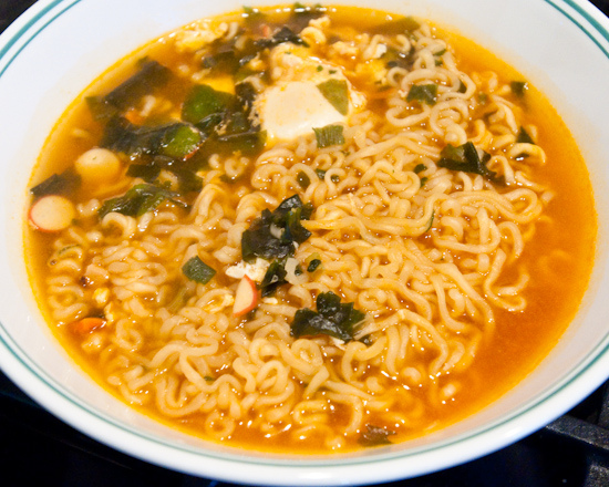 Nong Shim Seafood Ramyun with poached egg