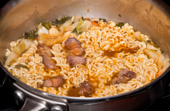 Nong Shim Seafood Ramyun with cabbage and steak
