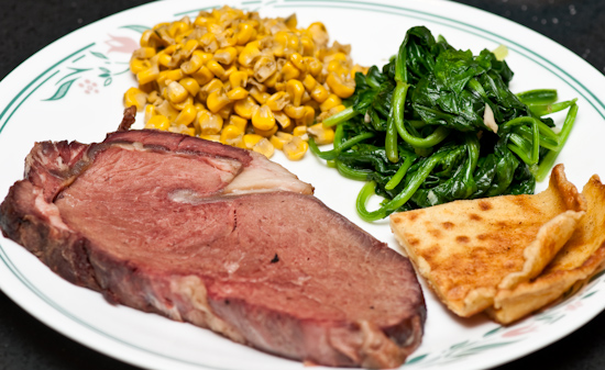Leftover Christmas Dinner - Prime Rib, Corn, Spinach, and Yorkshire Pudding