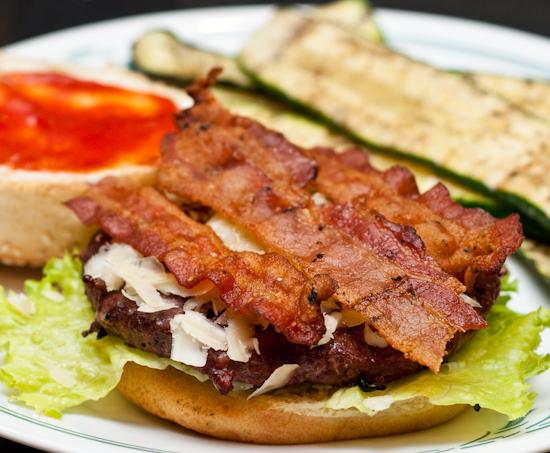 Ostrich Bacon Cheeseburger