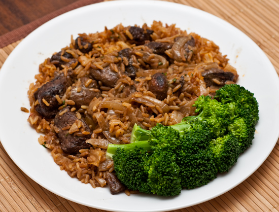 Leftover beef tips with broccoli