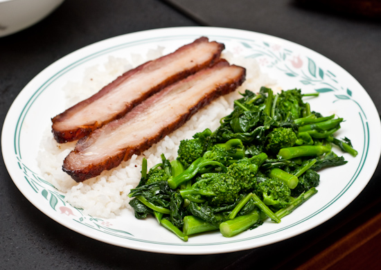Smoked pork belly with rice and broccoli rabe