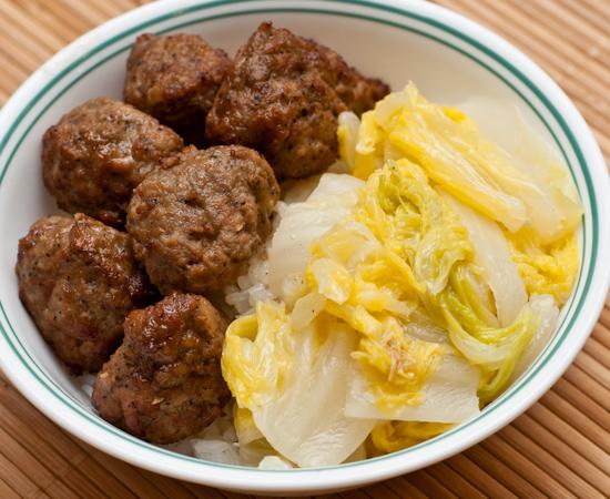 Teriyaki Meatballs and Napa Cabbage