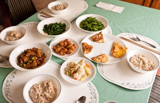 Oatmeal, eggs, spinach, asparagus, squid, and shrimp