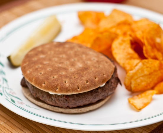 Venison Burger with Potato Chips and Pickle