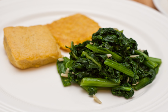 Pan Fried Polenta and Spinach