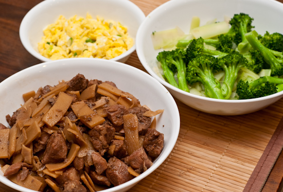 Soy Sauce Pork, Broccoli, and Eggs Scrambled with Scallions