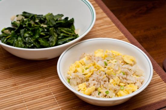 Egg Fried Rice and Collard Greens