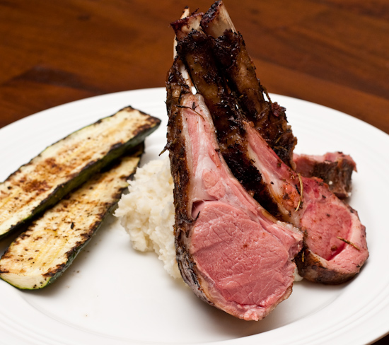 Sous Vide Rack of Lamb with Mashed Potatoes and Grilled Zucchini