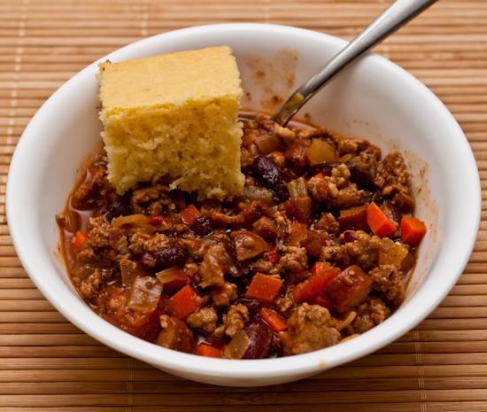 Leftover Chili with Cornbread