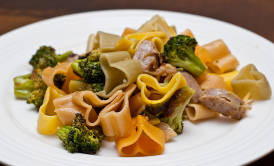 Pasta with bratwurst, roast broccoli, and NatureSweet SunBursts tomatoes