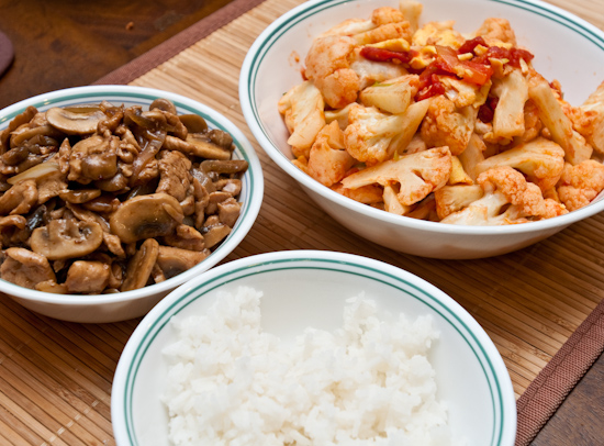 Mushroom Chicken, Tomato Cauliflower and Egg, White Rice