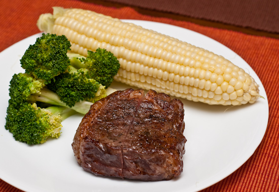 Sous Vide New York Strip Steak with sweet corn and broccoli