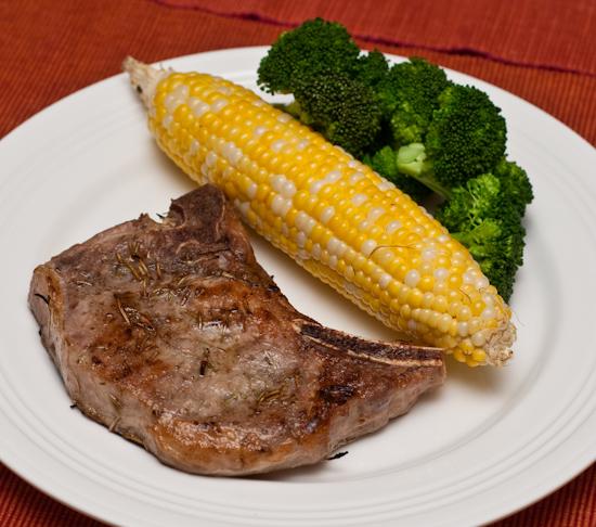 Sous vide pork chop, corn, and broccoli