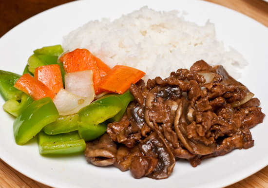 Pork with Mushrooms, Bell Peppers with Onions and Carrots, and White Rice