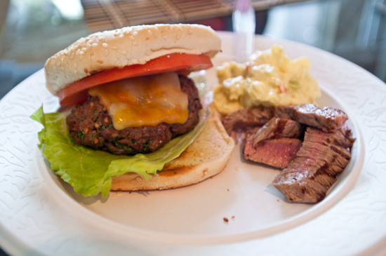 Chipotle Burger with Flank Steak and Potato Salad at Braden's BBQ Party