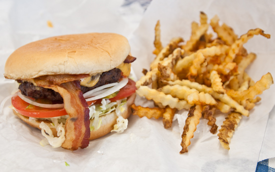 Mighty Fine Burgers - Bacon Cheeseburger and Fries