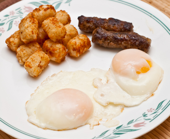 Eggs, Tater Tots, and Breakfast Sausages