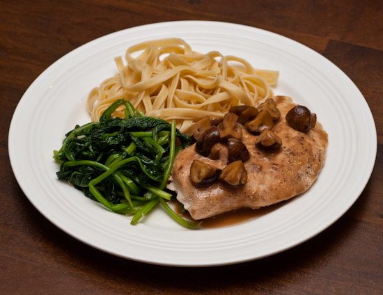 Chicken Marsala with Fettuccine and Spinach
